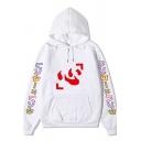 Retro Womens Hooded Sweatshirt Anime Hunter Japanese Letter Print Drawstring Kangaroo Pocket Loose Fit Long Sleeve Hooded Sweatshirt