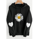Womens Hoodie Unique Heart Daisy Pattern Kangaroo Pocket Drawstring Long Sleeve Relaxed Fitted Hoodie