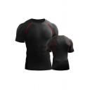 Mens T-Shirt Fashionable Contrasted Topstitching Sweat-Absorbing Short Sleeve Round Neck Skinny Fitted Quick-Dry Tee Top