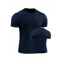 Mens T-Shirt Stylish Solid Color Breathable Short Sleeve Round Neck Skinny Fitted Quick-Dry Tee Top
