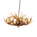 6/8 Lights Suspended Lighting Fixture Farmhouse Stag Antler Resin Chandelier in Brown