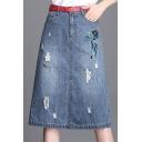 Cat Embroidered Drawstring Waist Midi Denim Skirt