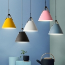 Pink/Blue/White Conic Suspension Lighting Macaron 1 Bulb Metal Ceiling Pendant with Leather Strap
