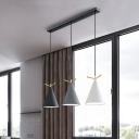 Nordic Cone Pendant Light Metal 3 Bulbs Kitchen Bar Antler Element Pendulum Light in Black/White/Black-Grey-White, Round/Linear Canopy