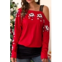 Basic Womens T-Shirt Santa Claus Pattern Patchwork Mesh Strap One Shoulder Full Sleeve Relaxed Tee Top