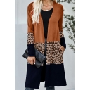 Fashionable Womens Cardigan Open Front Leopard Pattern Patchwork Long Sleeve Round Neck Fitted Cardigan