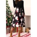 Womens Festive Midi Dress Waist Strap Christmas Long Sleeve Round Neck Flared Dress