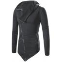 Mens Fashion Plain Lapel Collar Oblique Zipper Long Sleeve Slim Fit Hoodie