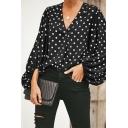Elegant Ladies Polka Dot Print Long Sleeve V-neck Relaxed Fit Shirt Top