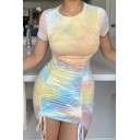 Womens Dress Trendy Tie Dye Ruched Drawstring Front Panel Mini Slim Fitted Round Neck Short Sleeve Bodycon Dress