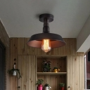 Matte Black Barn Shade Ceiling Lamp Farmhouse Metal 1-Light Bathroom Semi Flush Mount Lighting Fixture