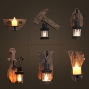 Ax/Foot Palm Shaped Wood Wall Lamp Fixture Cottage Single Corner Wall Lighting with Lantern/Candle Shade in Brown