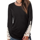 All-Match Women's Tee Top Lace Trims Ruched Round Neck Long Sleeves Fitted T-Shirt