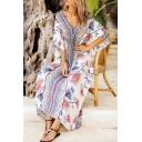 Exotic Boho Chic Womens Kaftan Botanic Print Half Sleeve V-Neck Loose Fitted Maxi Dress