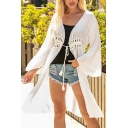 Ladies Basic Cardigan Hollowed Waist Sheer Tie Full Flared Cuff Sleeve Knee-Long Cardigan