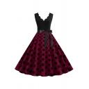 Womens Dress Casual Polka Dot Pattern Bow-Tie Waist Scalloped V Neck Sleeveless Slim Fitted Midi A-Line Swing Dress