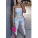 Retro Womens Jumpsuit Tie Dye Sleeveless Strapless Slim Fitted 7/8 Length Jumpsuit