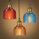 1 Light Bell Pendant Light Fixture Loft Red/Blue/Orange Grid Glass Suspended Lighting Fixture over Table