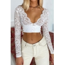 Basic Womens T-Shirt Lace up Side Lace Scalloped Deep V Neck Long Sleeve Cropped Slim Fitted T-Shirt