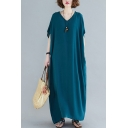 Basic T-Shirt Dress Solid Color V Neck Short Sleeves Relaxed Fit Long T-Shirt Dress for Women
