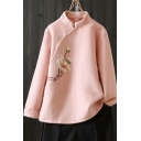 Tribal Style Flower Embroidered Single-Breasted Stand Collar Long-sleeved Regular Fit Coat for Women