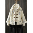 Winter Thick Flower Embroidered Button-up Stand Collar Long-sleeved Fitted Cotton Fluffs Coat