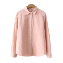 Womens Shirt Chic Solid Color Button up Spread Collar Long Sleeve Loose Fit Shirt