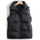 Womens Vest Chic Plain Button up Mock Neck Sleeveless Slim Fitted Padded Vest with Pockets