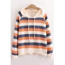 Basic Womens Hoodie Color Block Stripe Pattern Drawstring Loose Fit Long Sleeve Hoodie