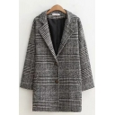 Womens Coat Fashionable Houndstooth Pattern Two-Button Lapel Collar Regular Fit Mid-Length Long Sleeve Woolen Coat