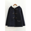 Unique Womens Coat Cat-Pocket Toggle Button Detail Hooded Loose Fit Long Sleeve Woolen Coat