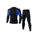 Classic Mens Workout Co-ords Color Block Topstitching Quick-Dry Long Sleeve Round Neck Tee Slim Fitted Pants Co-ords
