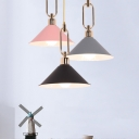 Pink/White/Grey Cone Suspension Lamp Macaron Single Bulb Metal Ceiling Light with Roll Edge and Buckle Design