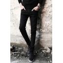 Men's Cool Fashion Double Zipper Embellished Simple Plain Stretch Slim Fit Black Jeans