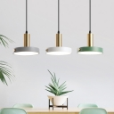 Circle Acrylic LED Multi-Light Pendant Nordic 3 Bulbs White-Grey-Green Hanging Lamp in Warm/White/3 Color Light, Round/Linear Canopy