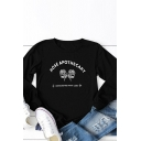 Womens T-Shirt Simple Rose Letter Apothecary Print Crew Neck Long Sleeve Regular Fitted Graphic T-Shirt