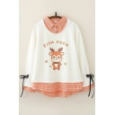 Cool Womens Graphic Sweatshirt Plaid-Patchwork Faux Twinset Sika Deer Pattern Loose Fit Long Sleeve Turn-down Collar Pullover Sweatshirt