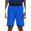Mens Shorts Chic Star Pattern Side Split Hem Contrast Trim Knee-Length Elastic Waist Regular Fitted Sport Shorts