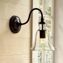 Clear Glass Black Wall Light Trumpet-Shape 1 Head Vintage Style Gooseneck Wall Lamp Fixture