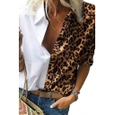 Sexy Women's Blouse Contrast Color Leopard Printed Button-down Collared Long Sleeves Blouse