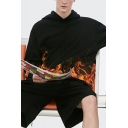 Fashion Men's Hoodie Thick Warm Tie Dye Fire Printed Drawstring Long Sleeve Relaxed Fit Hooded Sweatshirt