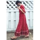 Women's New Trendy Burgundy Boho Print V-Neck Long Sleeve Split Front Maxi Holiday Dress