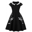 Womens Dress Casual Bat Embroidered Midi A-Line Slim Fitted Round Neck Cap Sleeve Swing Dress