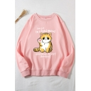 Womens Sweatshirt Stylish Cat Letter I'm Not in a Bad Mood Everyone Is Just Annoying Pattern Round Neck Long Sleeve Loose Fit Pullover Sweatshirt