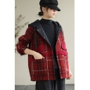 Womens Casual Jacket Trendy Plaid Print Color Block Panel Drawstring Button Detail Long Sleeve Hooded Loose Fit Jacket