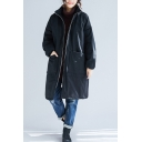 Winter Warm Coat Solid Color Zip Fly Side Pockets Stand Collar Long Sleeves Relaxed Fit Coat for Women