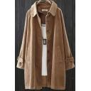 Elegant Women's Coat Plain Pockets Button-down Turn-down Collar Midi Corduroy Coat