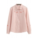 Retro Womens Shirt Floral Embroidered Spread Collar Button Detail Loose Fit Long Sleeve Shirt