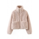 Retro Womens Jacket Solid Color Sherpa Front Double-Pocket Zipper Detail Loose Fit High Neck Long Sleeve Casual Jacket