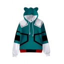 Vintage Womens Hoodie Cosplay 3D Colorblock Anime My Hero Academia Drawstring Long Sleeve Relaxed Fitted Hoodie